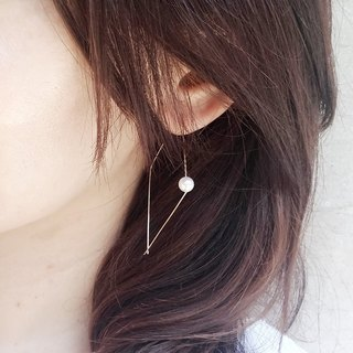 简洁珍珠大耳环 / The one  Swarovski  Pearl 14KGF earring.