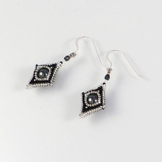 Black silver geometric earrings, square dangle earrings, rhombus earrings, 0802