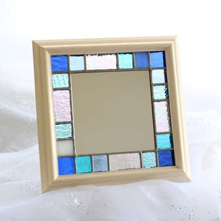 Stained glass small frame / mirror Summer Blue