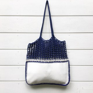 Navy-White Gradie Crochet Bag