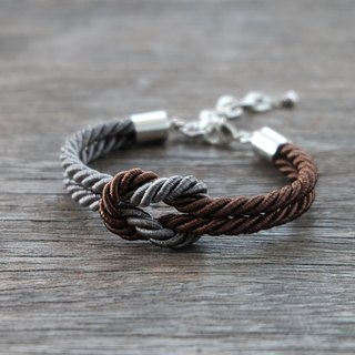 Charcoal & Chocolate knot rope bracelet