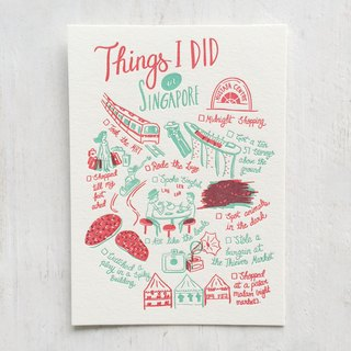 Things I Did in Singapore Letterpress Postcard