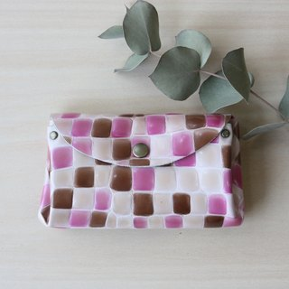 Small wallet with stained glass pattern Cowhide pink