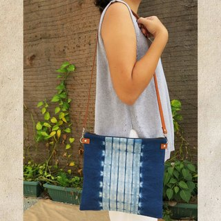Natural Indigo / Mangosteen Clutch with Leather Strap/ Sling Bag (2 Way)