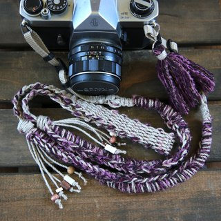 Hand-spun knitted hemp string camera strap - purple system / belt