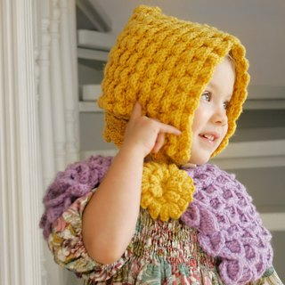 Baby hat made of soft organic wool, baby bonnet vintage style, yellow hat