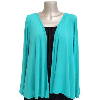 Viscose stretch topper cardigan <Peacock Green>