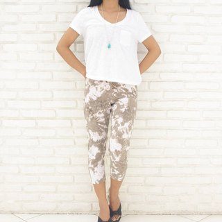 Superb comfort! Uneven dyed stretch leggings shorts <Brown White>