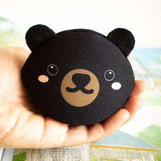 Black bear coin purse. Birthday gift. Handmade bag in Japanese style.