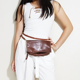 Genuine Leather Sling bag / Fanny Pack / Zipper Pouch / Clutch bag / Travel Bag