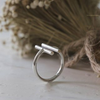 Minimal ring 2 double lines handmade lady women Girl silver sterling urban chic