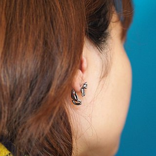 Elimination cat earrings grill Silver one ear