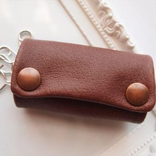 [Classic Brown] pig leather soft key case [MTO] Brown Leather