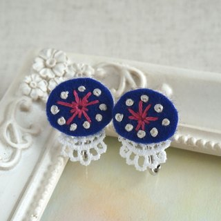 "Hand embroidery earring ""Navy oval 2"""