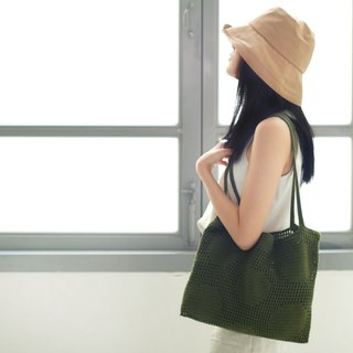 Crochet Polka Dot Tote Bag | Military