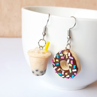 Bubble milk tea + donut chocolate  earring