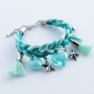 Green mint braided bracelet with star, heart and tassel charms