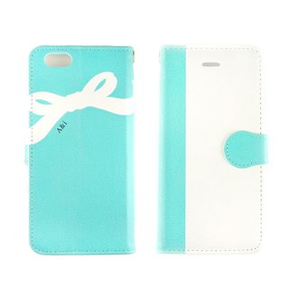Name Possible ★ Back ribbon pattern Blue green note book type smart case