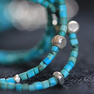 Turquoise and silver beads tiered bracelet (B0007)