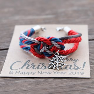 Infinity knot Snowflake bracelet in red charcoal light gray - Christmas bracelet