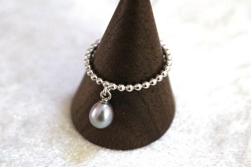 Freshwater Pearl bra ring (silver color)