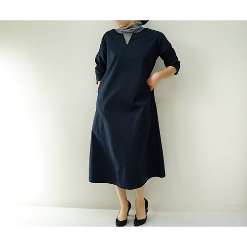 [Wafu] A drop shoulder dress / Navy a42-11