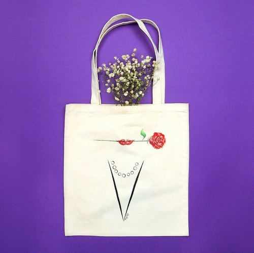 《Lady A to Z on tote bag》手绘字母托特包 Q-Z