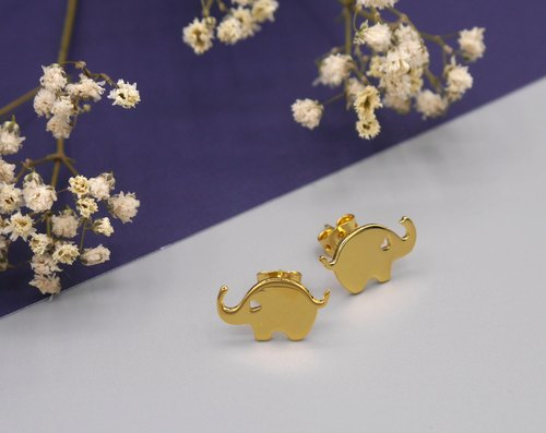 Little Elephant Earring - Gold plated on brass, Tiny Earring, Animal Jewelry, Christmas gift, New year gift