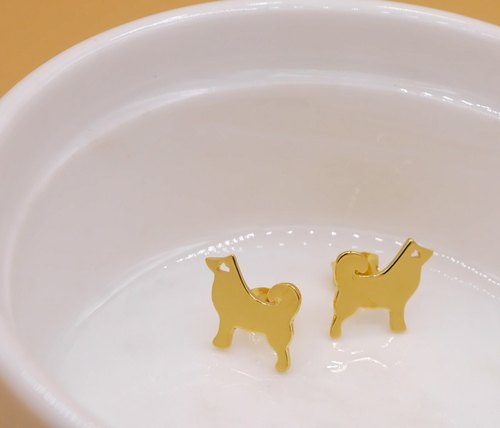 Handmade Little Dog earring - 18K Gold plated on brass, Tiny earring, Animal Jewelry,birthday gifts