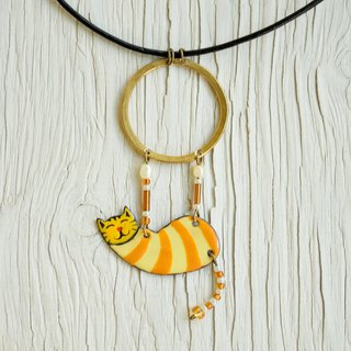 Enamel Necklace, Ring Necklace, Circus, Aerialist, Yellow Brown, Brown Cat,