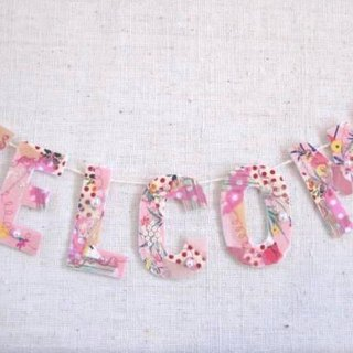 welcome banner pink patchwork collage fabric alphabet wall hanging wedding