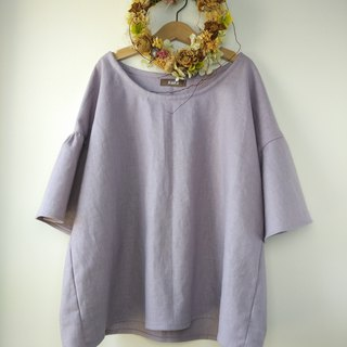 Flare sleeve blouse Cotton linen lilac