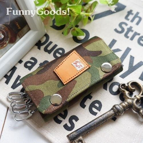 Camouflage camouflage pattern 3-fold quadruple key case / handmade key case