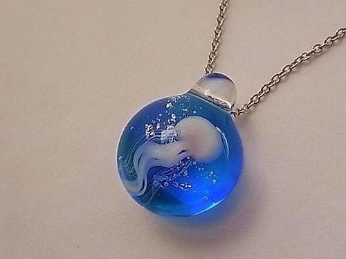 Pendant of jellyfish 3 - made of glass