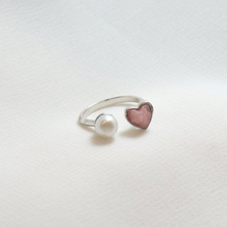 miniheart ring with pearl