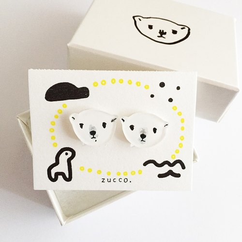 【Resale】 Polar bear face earrings