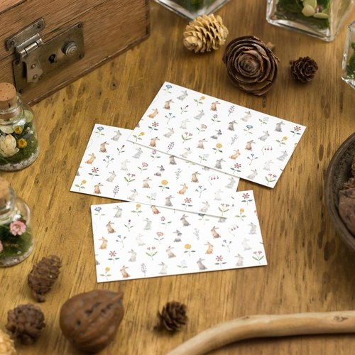 "10 pieces set. A small word. Message card ""rabbits and colorful flowers"" MC-121"