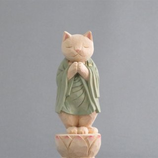 Wood carving cat, Cat to pray
