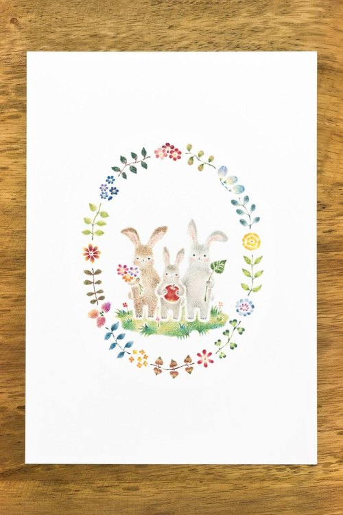 "Living with a picture. Art Print ""child rabbit march of the family"" AP-108"