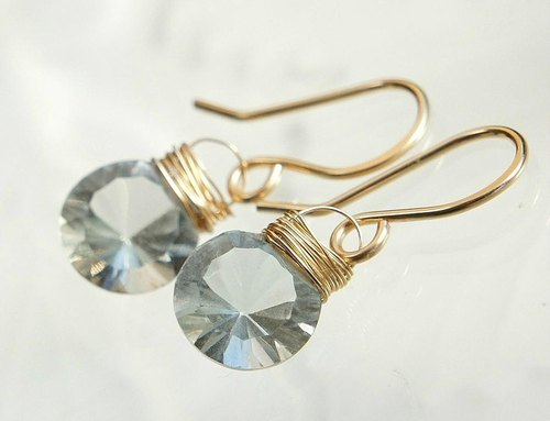 Green amethyst brilliant-cut earrings