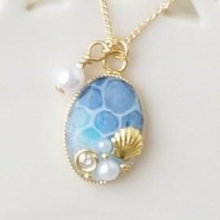 Hand-painted * · ゜゚ sea of ​​water necklace