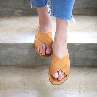 Nubuck leather Cross Sandal Beige / AB001