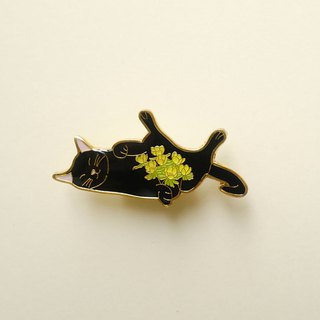 Winter Aconite Cat Enamel Pin, Badge, Brooch, Pin, Accessories