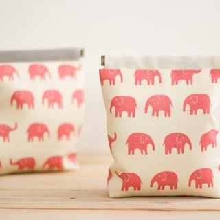 Charger case, Cosmetic pouch, Ditty bag, Make-up Case, Travel pouch, Mouse case / Pink elephant