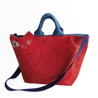 Canvas's canvas cat shoulder bag red (order made)
