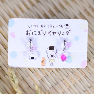 Rice ball earrings _ rice balls and plums