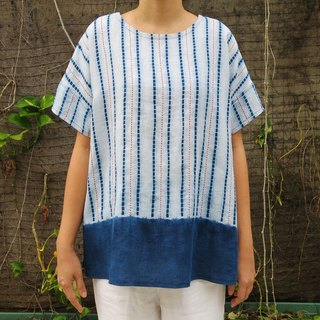 Natural Indigo with Rdd Sashiko Linen Flare Top