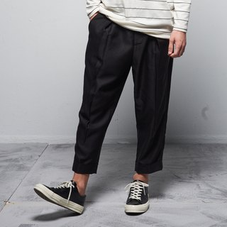 Stone@S Wild-Leg Trousers With Pleated / 褶子西裤 黑