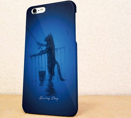 Free Shipping ☆ iPhone case GALAXY case ☆ cat phone case to go to the fishing of the day rain