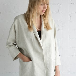Linen Jacket Motumo – 17SV1 / Handmade loose linen jacket with pockets